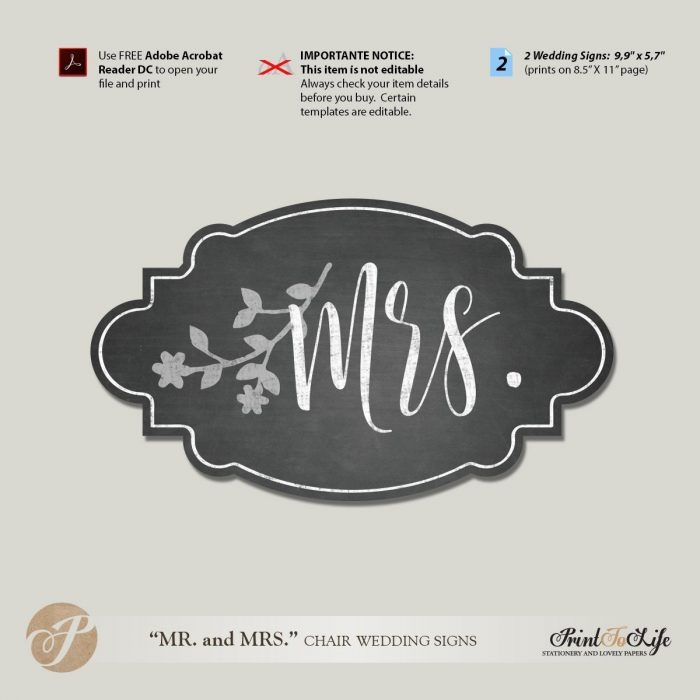 Mr And Mrs Chair Signs Wedding Template Printable Chalkboard Style