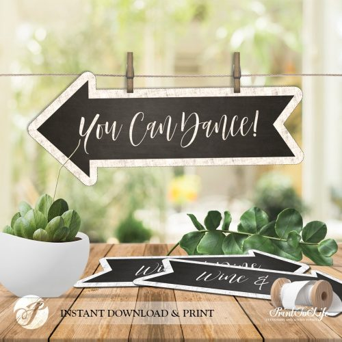 Wedding Direction Bundle 16 Arrow Directional Signs Printable Chalkboard Template