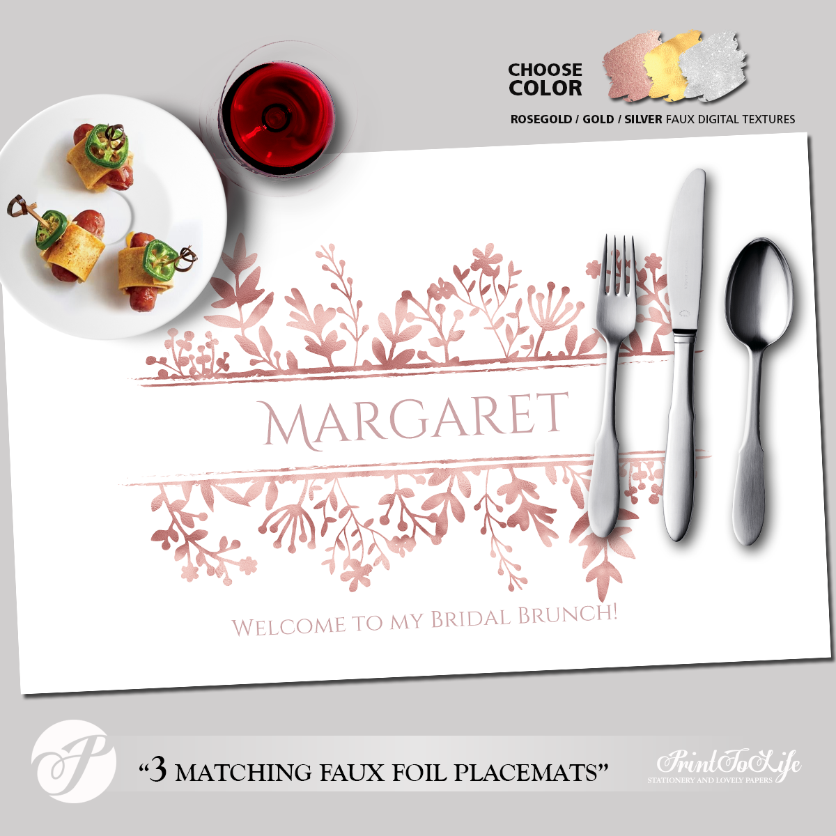 photo regarding Printable Placemats referred to as Printable Placemat Template, Customized for Bridal Showers and Dinners with 3 Luxurious Textures.