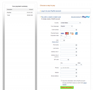 14 - Placing an order at PayPal without a PayPal account 2
